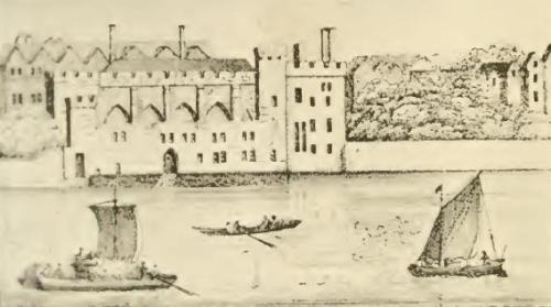 A depiction od Durham House (c.1630) from the River Thames - By Wenceslaus Hollar