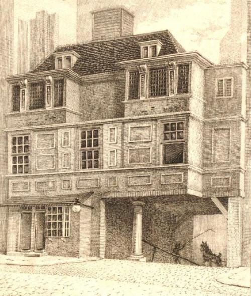 The Gate House of Durham House on the south side of the Strand which survived until 1807 - From a scketch made by Nathaneil Smith in 1790
