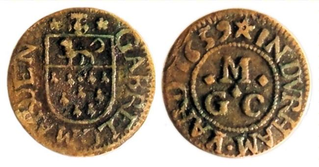 A farthing token date 1659 issued by Gabriell Marden - A tradesman from Durham Yard, Westminster