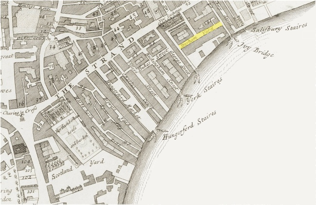 A map of part of the Parish of St. Martins-in-the-Fields, Westminster (C.1720) indicating the location of Durham Yard