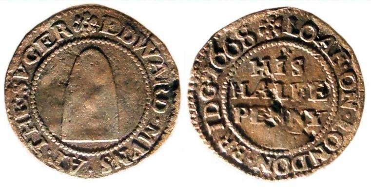 A half penny token issued by Edward Munns - A tradesman working on London Bridge