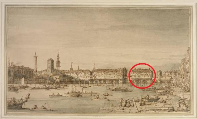 London Bridge in the early 17th century (looking from the West) showing the general location of the sign of the sugar loaf and Edward Munns shop south of Nonsuch House