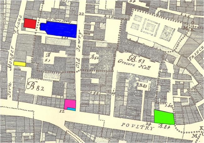 A map of the Poultry area of the Cheapside Ward of London showing the house and shop rented by Gabriel Marden between 1651-57 plus churches where he and his family are recorded within the parish registers. Pink - St. Mary Colechurch; Dark Blue - St Olave Jewry; Licht Blue - Rented Shop; Yellow - Rented House; Green - St. Mildreds Poultry; Red - St. Martin Pomarry.
