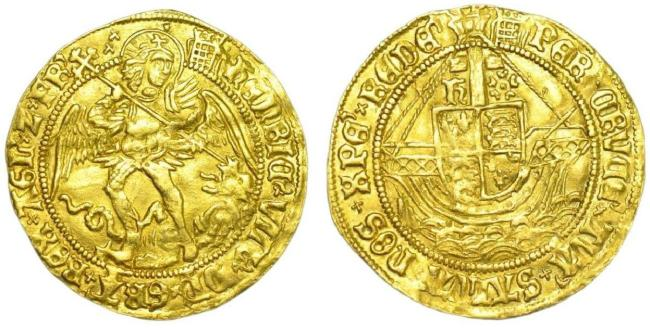 A gold Angel of Henry VIII - First Coinage Issue, 1509-1526