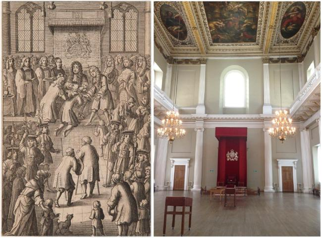 (Left) Front piece from John Browne's Adenochoiradelogia (London, 1684) depicting Charless II presiding at a Royal Touching Ceremony at the Banqueting House, Westminster. (Right) The Banqueting House as it appears today.