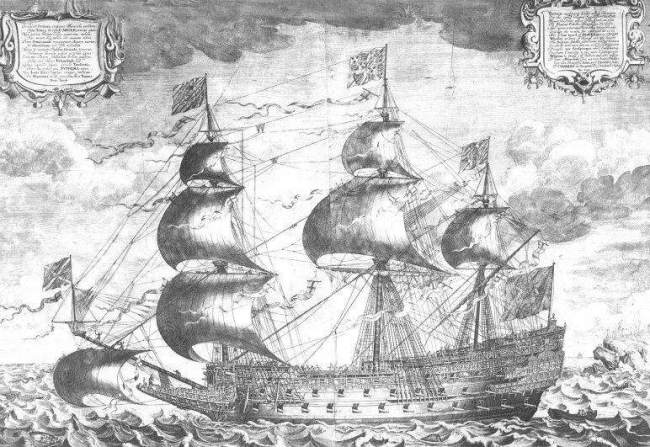 His Majesty's royal ship the Sovereign of the Seas - a contemporaneous engraving by J. Payne