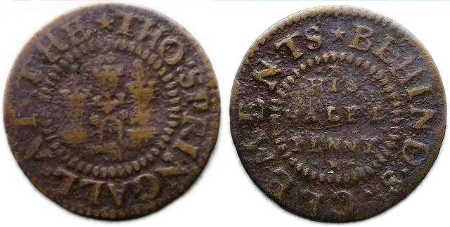 A half penny token of Thomas Springall of the Castle Tavern, behind St. Clement Danes Church, Westminster
