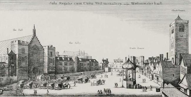 New Palace Yard 1647 by Wenceslaus Hollar - The Gate House in the north-west corner is that which is described as being adjacent to the Bell tavern in 1691.