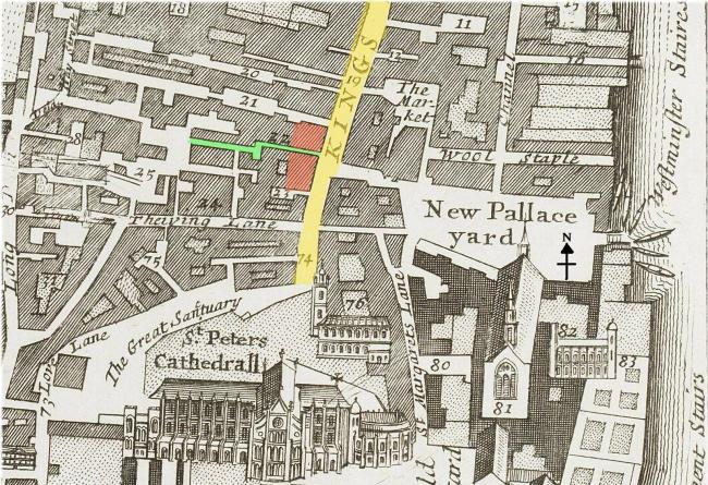 The southern end of King Street (c.1720) showing possible locations of the Bell tavern at the head of Bell Alley (marked in green).