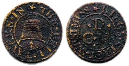 A farthing token of the Bell Tavern, King Street, Westminster