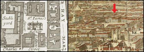 The Market House in St. James Market Westminster from Strype's Map of 1720 and Jan Kip's engraving of Westminster of c.1722.