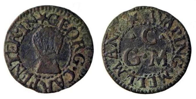 A farthing token issued by George Carpenter - A mid-17th century grain dealer of Wapping, London.