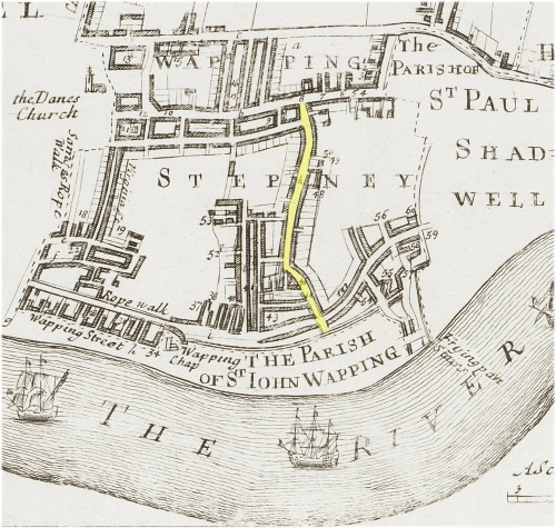 A map of Wapping showing the location of Old Gravel Lane (c.1720).
