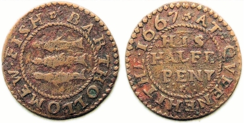 A half penny token of Bartholomew Fish of Queenhithe, London