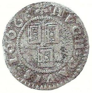 The obverse of a penny token of 1666 issued by Hugh Davies, Stationer at the sign of the Three Bibles in Holyhead, North Wales