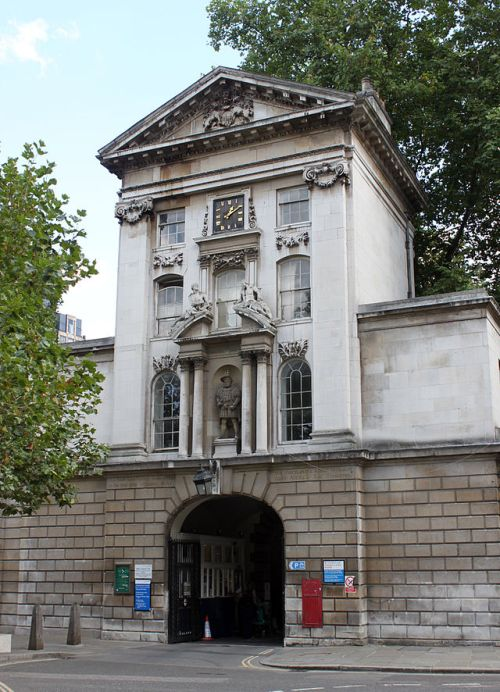 The main entrance to St. Bartholemew's Hospital - King Henry VIII Gate built in 1702 on the site of the original West Smithfield Gate