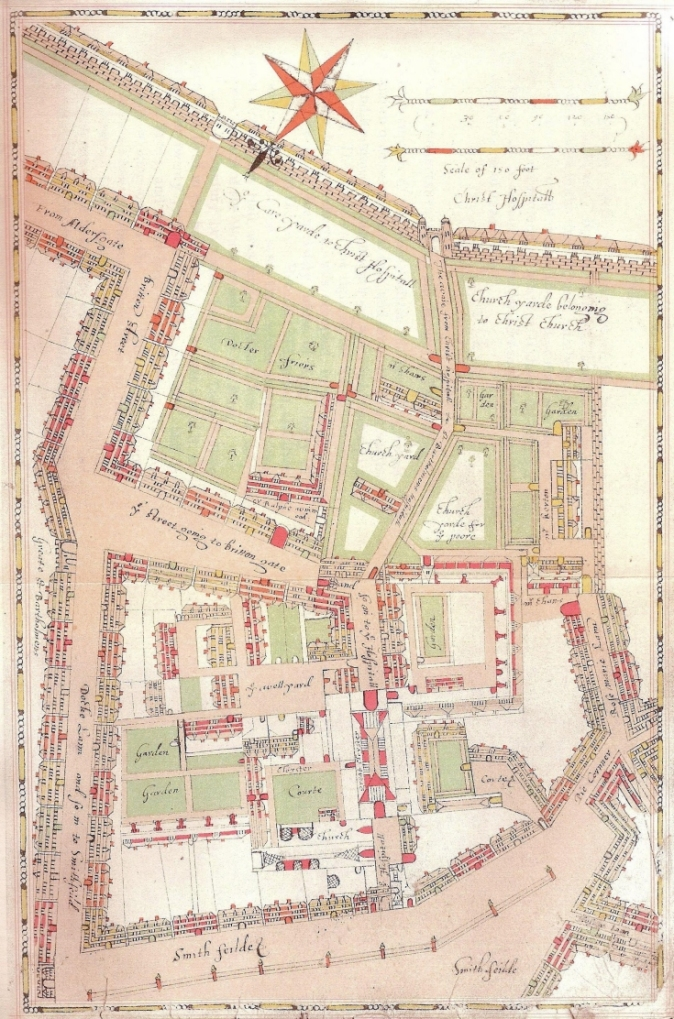 St. Bartholomew's Hospital in 1617 showing the West Smithfield Gate towards the bottom of the image