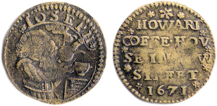 A penny token issued by Joseph Howard in 1671 for use in his London Coffee-house.