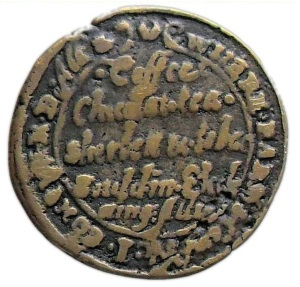 "The reverse of a London Coffee-house penny token of the early 1660s advertising the various commodities on offer to its patrons. As stated in the central field of the token these included ""Coffee, Chocolat, Tea, Sherbett & Tobac sould in Exchange Alley."