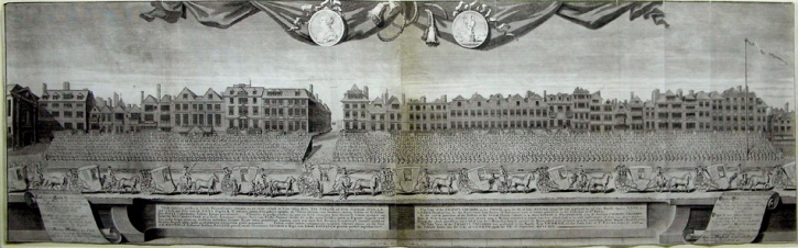 A contemporary print depicting a procession of the Houses of Parliament and Queen Anne along the Strand between Exeter Exchange and the maypole on 7th July 1713.