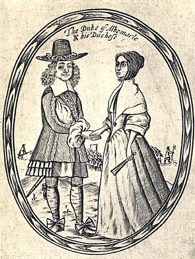 A contemporary print of the Ducke and Dutchess of Albermarle - George Monk & Anne Monk (nee Clarges).