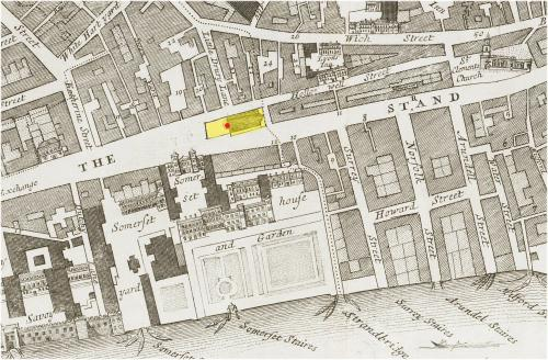 The Strand, Westminster (c.1720) showing the location of the Church of St. Mary-le-Strand (in yellow)and the approximate location of the Strand maypole (in red).