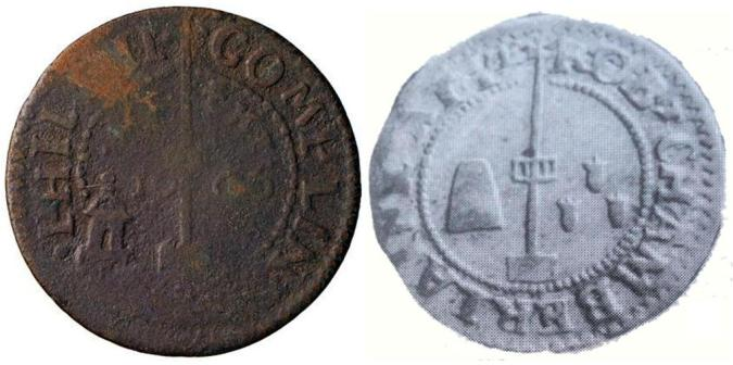 Two tradesman's tokens of the mid-1660s depicting the maypole in the Strand, Erstminster. The token on the right shows a sugar loaf and three pepper corns possibly indicating its issyer was a grocer.