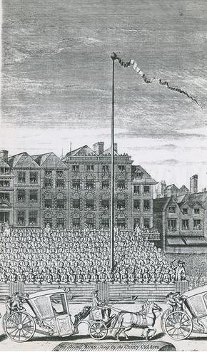 Detail of the maypole in the Strand from a print by George Vertue showing a procession in the Strand on 4th July 1713.