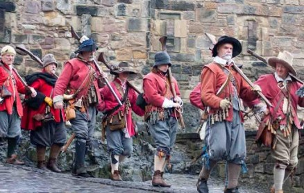 Re-enactors portraying the 17th century Tower Hamlets Militia or Trained Guard