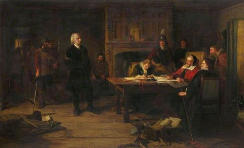 Depiction of a mid-17th century Conventicle Preacher being brought before the Justices (by Robert Inerarity Herdman c.1873-76)