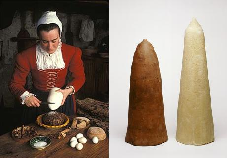 (Right) Reconstruction of a 17th century maid braking sugar from a sugarloaf (Left) A 17th century sugarloaf mold found in excavations in London plus a replicated sugarloaf