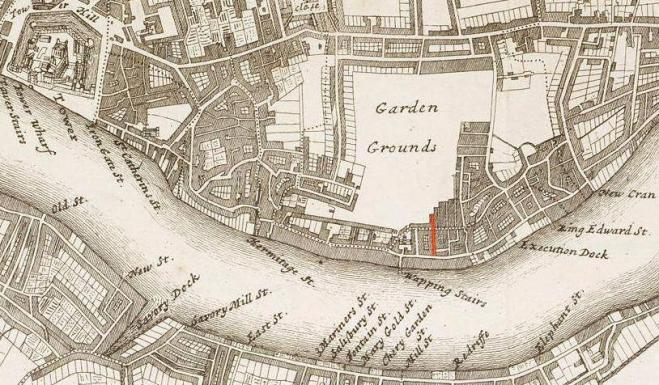 East London (c.1720) from the Tower of London to Shadwell indicating the location of Well Alley (in red), Wapping
