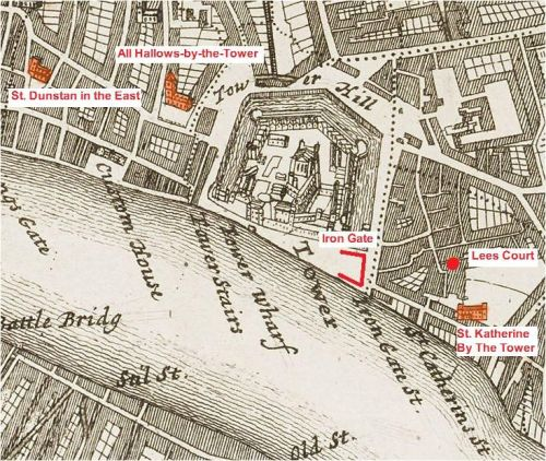 Places mentioned in the history of John Patston in and around the Liberty of the Tower of London (from Strype's Survey of 1720)