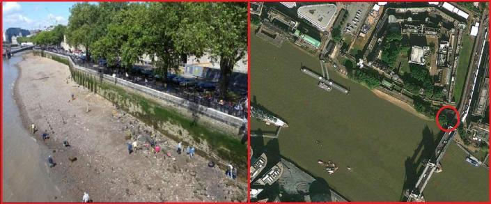 (Left) Volunteers from the Thames Discovery Project surveying the foreshore in front of the Iron Gate & Tower Wharf where the John Patson farthing token is believed to have been found in the 1990s (Right) Arial view of the Tower of London clearly showing the once location of the Iron Gate and the Tower beach foreshore