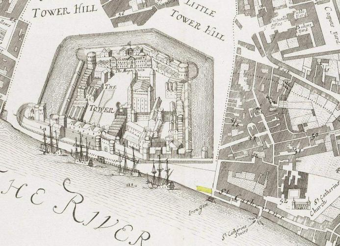 "The Tower of London and part of the Liberty of St. Katherine by the Tower showing the location of the range of buildings adjacent to the ""Iron Gate"" from where John Patston traded (map c.1720)."