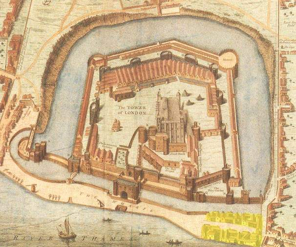 The Liberty of the Tower of London from Haiward's and Gascoyne's survey of the Tower (1597)
