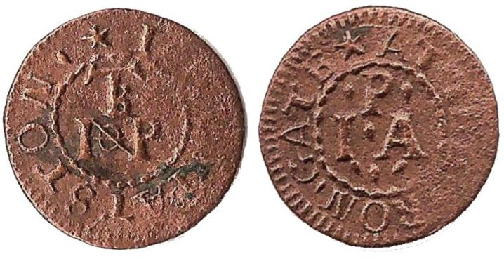 A farthing tradesman's token issued by John Patston at the Iron Gate adjacent to the Tower of London