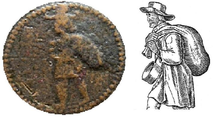 "The central obverse detail of Humphrey Vaughan's half penny token compared with that of a coal seller from a mid-17th century copy of ""The Cries of London"". The latter could possibly have been the die sinkers source for the former token design."