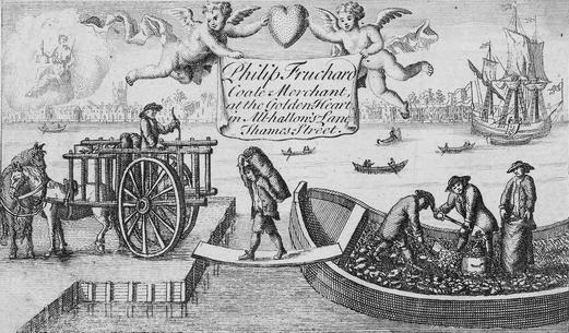A late 17th century or early 18th century trade card belonging to Philip Fruchard, Coal Merchant at the Golden Heart in All Hallows Lane off Thames Street. The image depicts porters transferring bags of sea coal off a barge into an awaiting cart