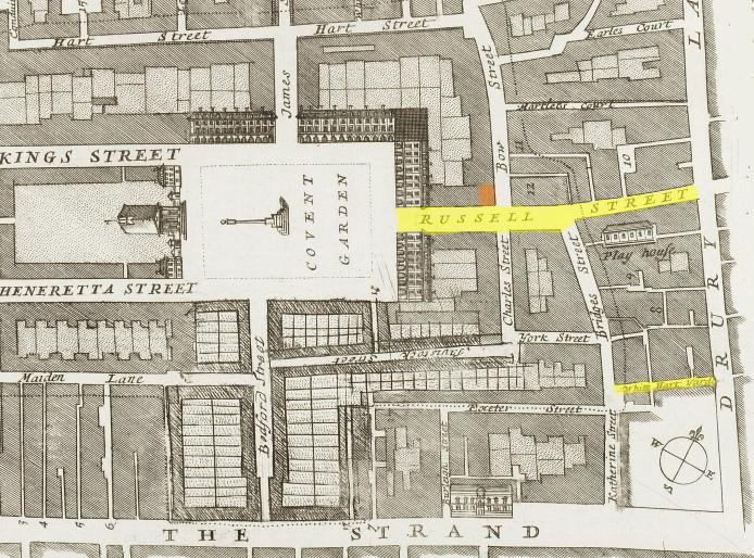 A map of the Covent Garden area (c.1720) showing White Hart Yard and Russell Street plus the location of the Goat Tavern (in red)