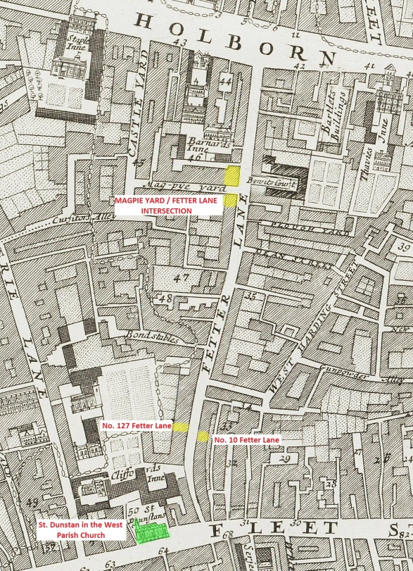Fetter Lane c.1720 - Showing known locations where there were businesses displaying the sign of the Falcon plus the parish church of St. Dunstan in the West.