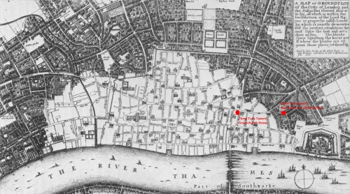 A map of London immediately after the Great Fire of September 1666 showing the extent of the devastation and the locations of the Three Tuns Taverns in Gracechurch Street and Crutched Friars