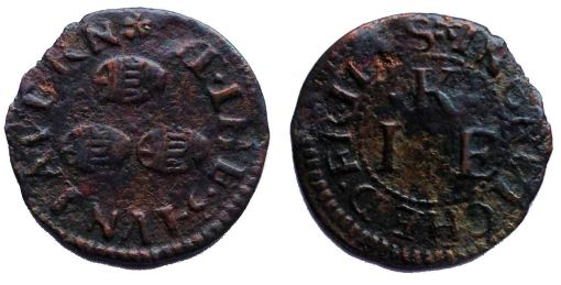 A farthing token issued in the name of the Three Tuns tavern in Crutched Friars, London.