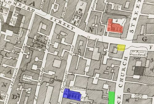 Gracechurch & Lombard Streets c.1720 indicating the locations of the pre Great Fire Three Tuns Tavern (YELLOW), post Great Fire Three Tuns Tavern (GREEN( plus All Hall0ws Church (RED) and St. Clement's Eastcheap (BLUE)