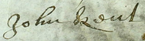The signature of John Kent as it appears on the Apprenticeship Indenture of Throgmorton Underwood dated 4th February 1672/3.