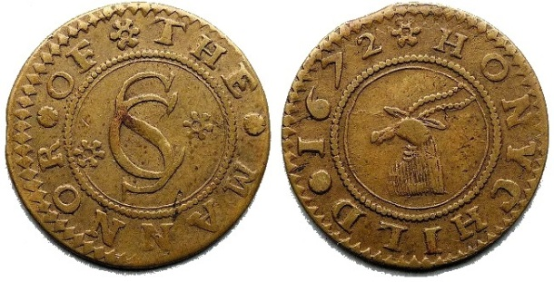 A half penny token issued by Sir Charles Sedley from his Honeychild Manor estate on Romney Marsh, Kent
