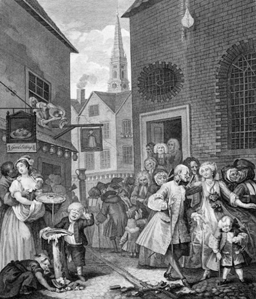 The four times of Day – Noon by William Hogarth (1738) – Contrasts a French Huguenot congregation leaving their church against the native English Londoners of the period.