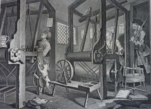 Industry & Idleness by William Hogarth (1742) illustrates a master weaver in London overseeing his apprentices weaving at their looms – Such workshops would have been common in Norton Folgate and Spitalfields during the 17th & 18th centuries