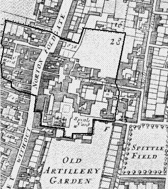 A plan of the Liberty of Norton Folgate (1682)