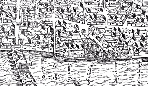 A section of the Agas Map of London (c.1561) between Old London Bridge and Billingsgate Dock showing the approximate location of Lion('s) Quay.